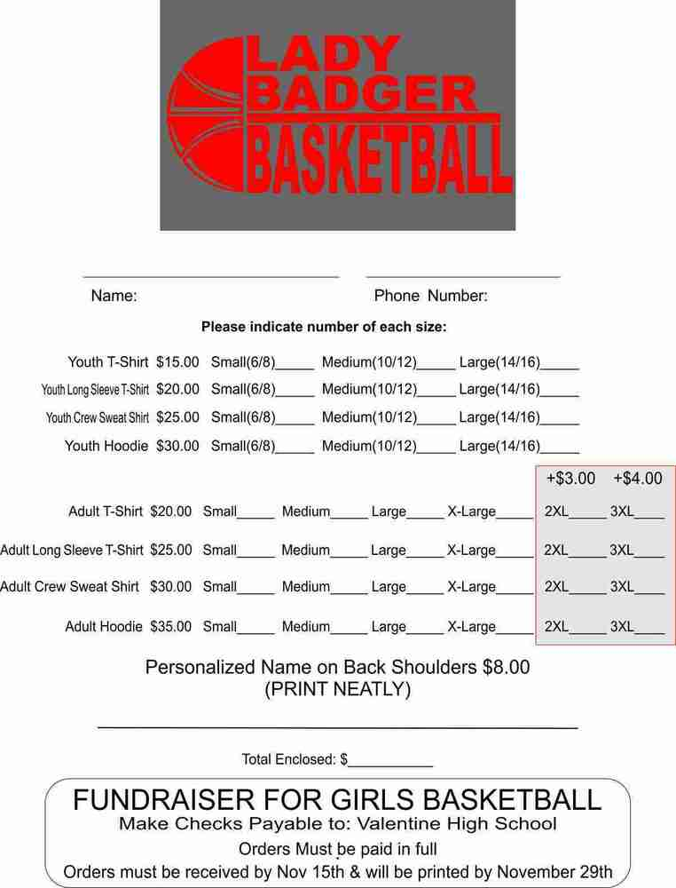 Lady Badgers Basketball Fundraiser