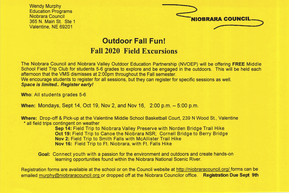 Niobrara Council Invites 5th & 6th Graders to Enjoy Nature!