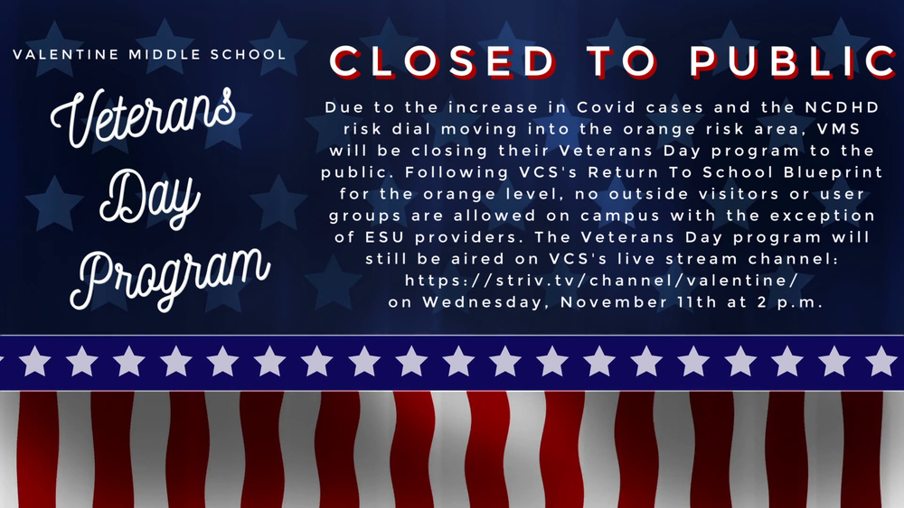 VMS Veterans Day Program Closed to Public