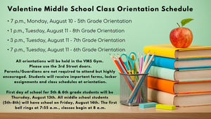 VMS Orientation Schedule