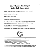 6th - 8th Grade Badger Volleyball Camp