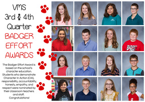 VMS 3rd & 4th Quarter Badger Effort Awards