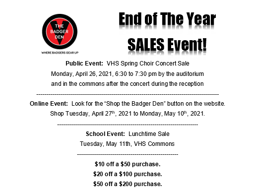 The Badger Den End of The Year Sales Event!