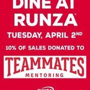 Runza Day on April 2 to support TeamMates Mentoring Program