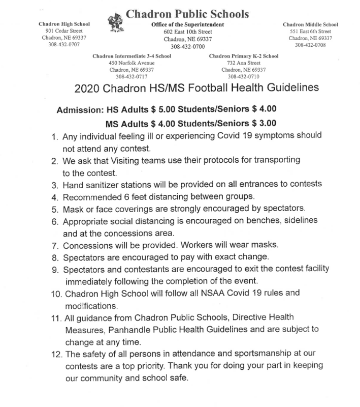 Chadron HS/MS Football Guidelines